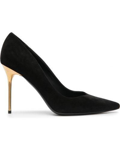 Кожаные черные туфли на высоком каблуке на каблуке без застежки Balmain
