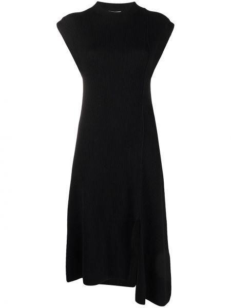 Платье миди в рубчик - черное Kenzo