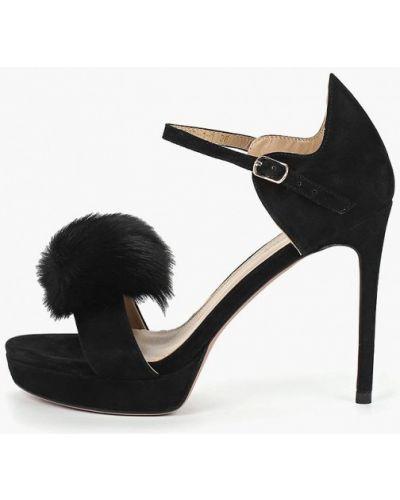 Босоножки черные на каблуке Grand Style