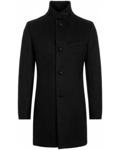 Długi płaszcz wełniany - czarny J.lindeberg
