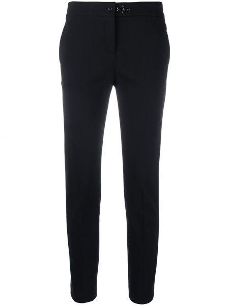 Брючные черные брюки-сигареты с карманами из вискозы Fay