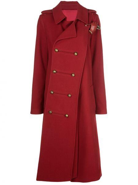 Красное длинное пальто с капюшоном двубортное Monse