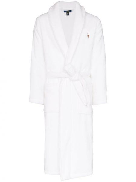 Szlafrok bawełniany z haftem z dekoltem w serek Polo Ralph Lauren