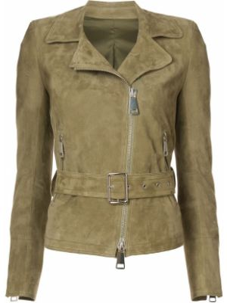 Замшевая зеленая куртка байкерская Sylvie Schimmel