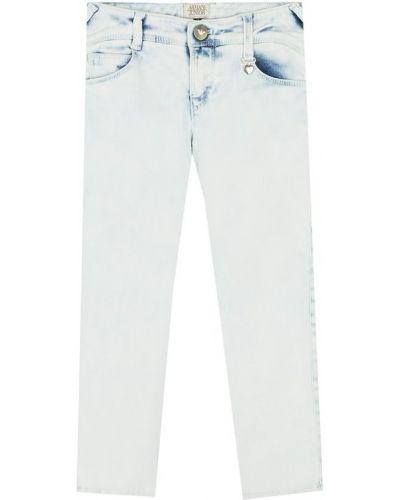 Джинсы с эффектом потертости с накладными карманами Armani Junior