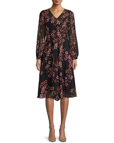 Шифоновое платье миди с подкладкой в цветочный принт Calvin Klein