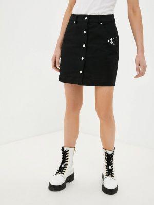 Черная прямая юбка карандаш Calvin Klein Jeans