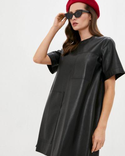 Кожаное черное платье United Colors Of Benetton