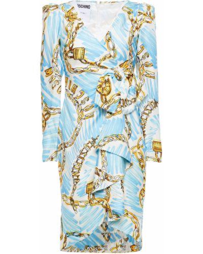 Плиссированное шелковое синее платье Moschino
