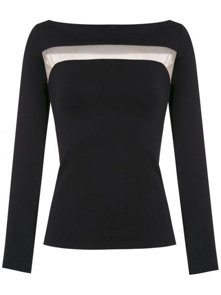 Черная прямая блузка с длинным рукавом с воротником прозрачная Gloria Coelho