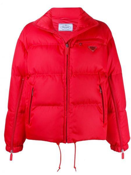Красная куртка с манжетами на молнии с карманами Prada