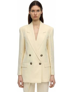 Бежевый пиджак оверсайз с карманами из вискозы Proenza Schouler