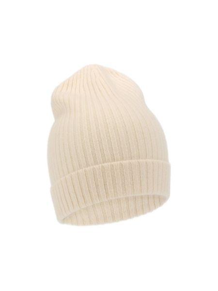 Кашемировая белая шапка с отворотом эластичная Not Shy