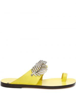 Żółte sandały plaskie skorzane Nicholas Kirkwood