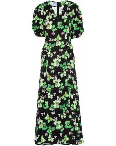 Зеленое платье из вискозы Prada