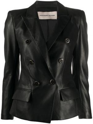 Черный кожаный удлиненный пиджак двубортный Alexandre Vauthier