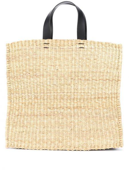 Черная соломенная сумка-тоут круглая из натуральной кожи Muun