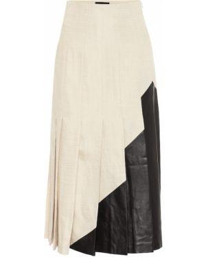 Плиссированная юбка кожаная льняная Joseph