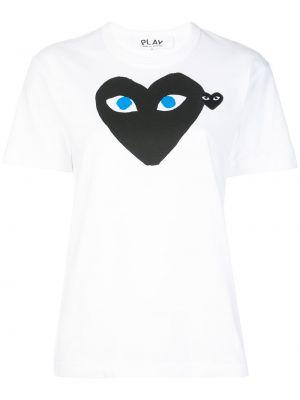T-shirt bawełniana - biała Comme Des Garcons Play