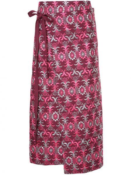 Розовая с завышенной талией юбка миди с запахом с вышивкой Comme Des Garçons Pre-owned