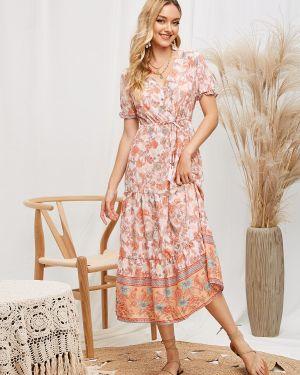 Платье миди на пуговицах с цветочным принтом Zaful