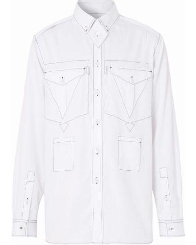 Biała koszula z długimi rękawami - biała Burberry