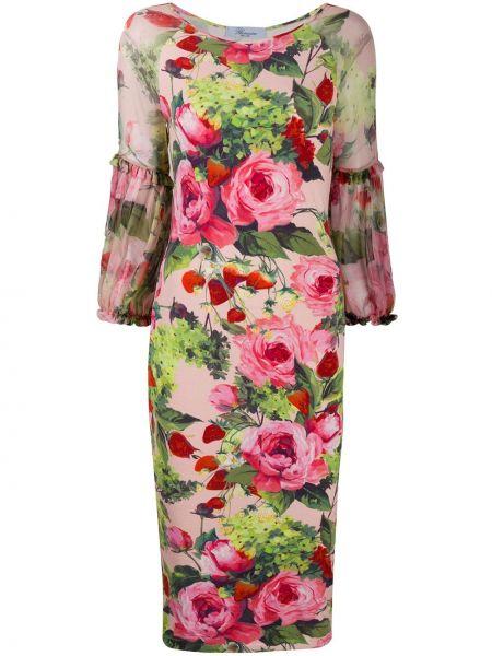 Розовое облегающее платье прозрачное с оборками с вырезом Blumarine