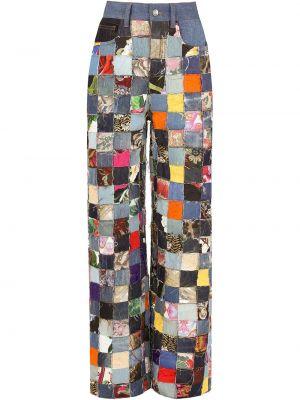 Синие широкие джинсы с карманами пэчворк Dolce & Gabbana