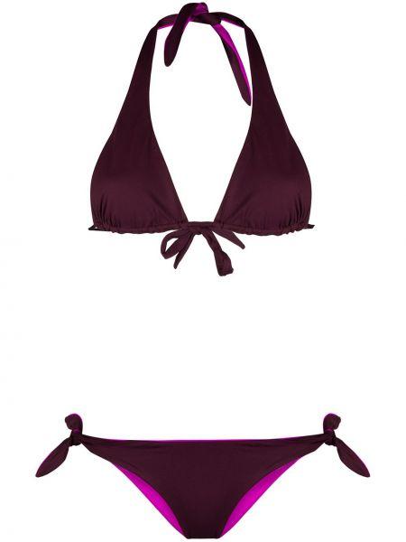 Фиолетовые бикини с вырезом с завязками с воротом халтер Tara Matthews