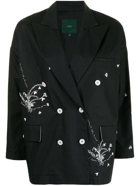 Черный удлиненный пиджак двубортный с вышивкой Jejia