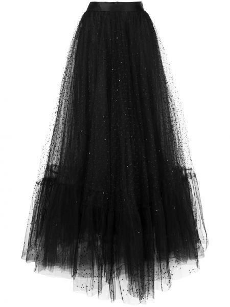 Облегающее черное платье с вышивкой Marchesa