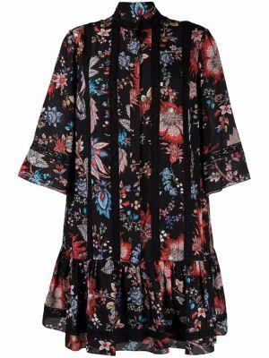 Czarna sukienka mini z printem Erdem