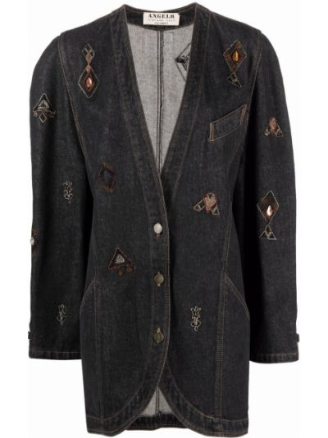 Синяя джинсовая куртка с вышивкой винтажная A.n.g.e.l.o. Vintage Cult