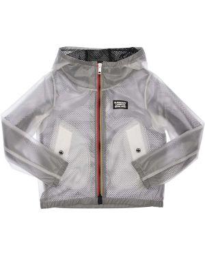 Biały płaszcz z kapturem z nylonu Burberry