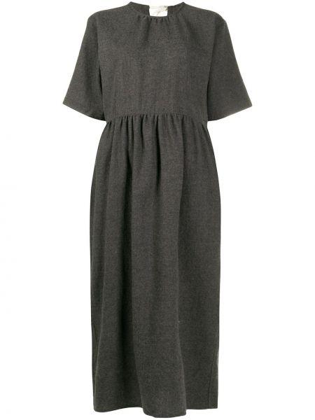 Шерстяное серое платье с карманами с короткими рукавами Sofie D'hoore