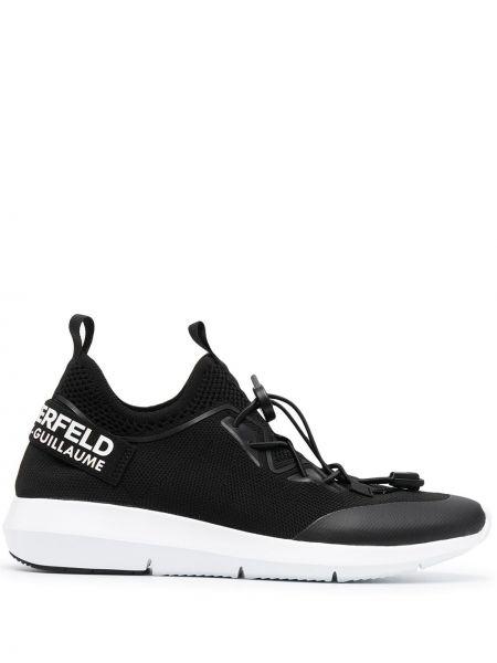Czarne sneakersy sznurowane koronkowe Karl Lagerfeld