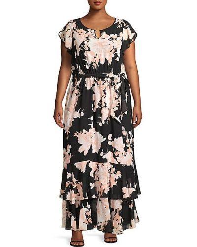 Шифоновое черное платье макси для полных Calvin Klein