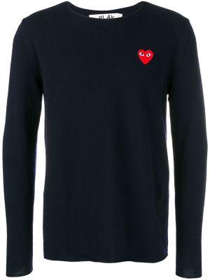 Прямой шерстяной синий свитер с круглым вырезом Comme Des GarÇons Play