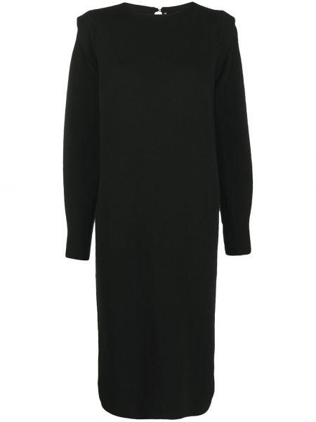 С рукавами шерстяное черное платье миди Agnona