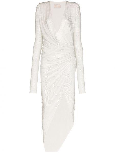 Sukienka wieczorowa z falbanami kopertowa z długimi rękawami Alexandre Vauthier