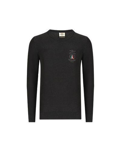 Черная хлопковая футболка Aeronautica Militare
