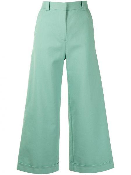 Хлопковые зеленые укороченные брюки с карманами See By Chloé