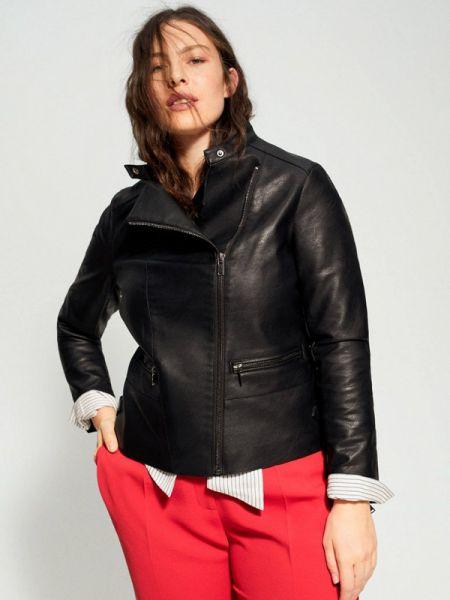 Кожаная куртка весенняя черная Violeta By Mango