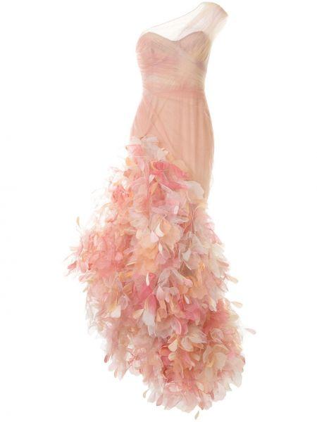Приталенное розовое шелковое платье Marchesa
