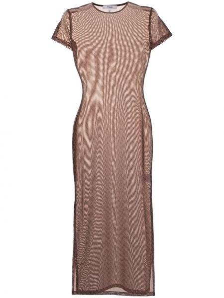 Brązowa sukienka z printem Miaou