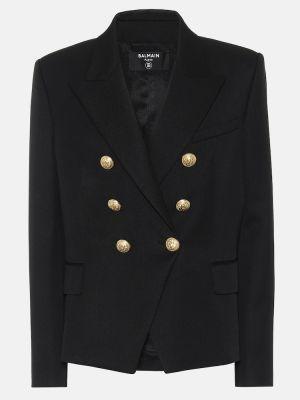 Шерстяной черный пиджак милитари двубортный Balmain