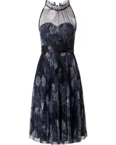 Niebieska sukienka koktajlowa rozkloszowana Laona