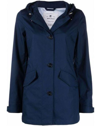 Прямая синяя куртка с капюшоном Woolrich