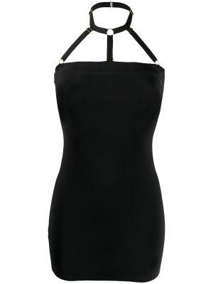 Черное платье на бретелях без бретелек с вырезом Maison Close