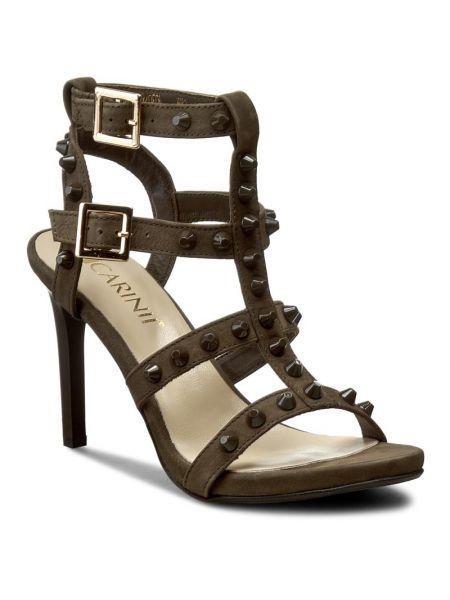 Sandały skórzany zamsz Carinii